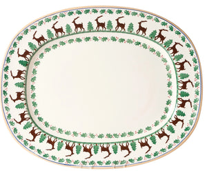 Oval platter Reindeer spongeware pottery by Nicholas Mosse Pottery - Ireland - Handmade Irish Craft