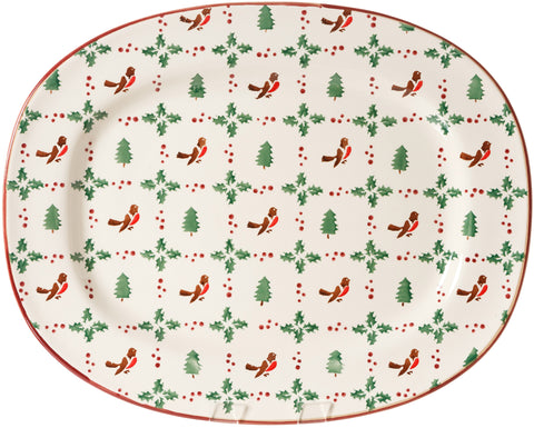 OVAL PLATTER WINTER ROBIN