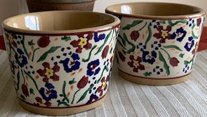 Pair of Custard Cups Wild flower Meadow Nicholas Mosse