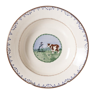 Pasta Bowl Cow 2 spongeware by Nicholas Mosse Pottery - Ireland - Handmade Irish Craft