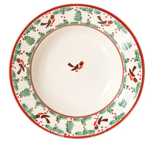 Set of four Pasta Bowls Winter Robin