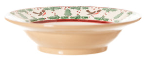Pasta Bowl Winter Robin spongeware pottery by Nicholas Mosse