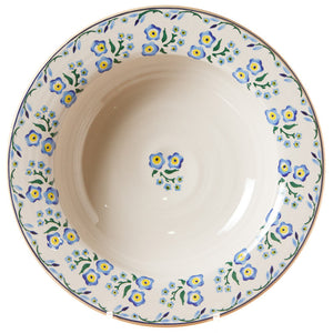 Pasta server Forget Me Not (inside) spongeware pottery by Nicholas Mosse Pottery - Ireland - Handmade Irish Craft.