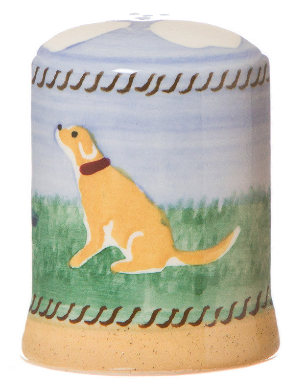 Pepper cruet Dog spongeware pottery by Nicholas Mosse Pottery - Ireland - Handmade Irish Craft.