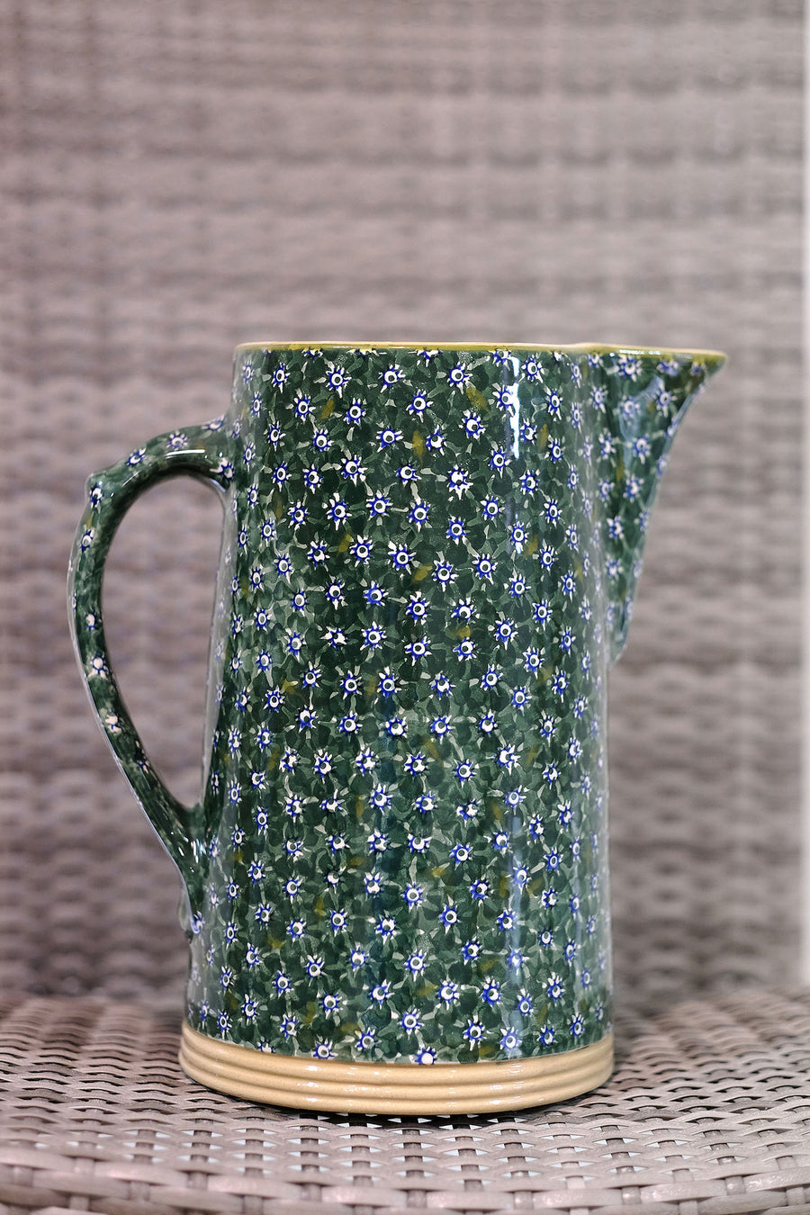 Lawn Green XL Jug spongeware by Nicholas Mosse Pottery - Ireland - Handmade Irish Craft