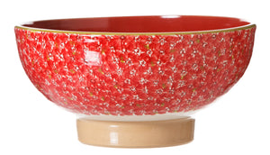Salad Bowl Lawn Red spongeware pottery by Nicholas Mosse, Ireland - Handmade Irish Craft - nicholasmosse.com