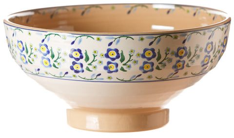 Salad bowl Forget Me Not spongeware pottery by Nicholas Mosse Pottery - Ireland - Handmade Irish Craft.