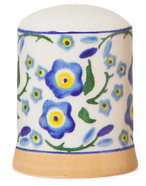 Salt cruet Forget Me Not spongeware pottery by Nicholas Mosse Pottery - Ireland - Handmade Irish Craft.