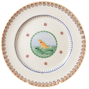 Serving plate Dog spongeware pottery by Nicholas Mosse Pottery - Ireland - Handmade Irish Craft.