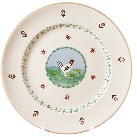 Serving plate Hen spongeware pottery by Nicholas Mosse Pottery - Ireland - Handmade Irish Craft.