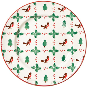 Serving Plate Winter Robin Nicholas Mosse Pottery handcrafted sponge ware Ireland
