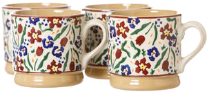 Set of 4 Small Mugs Wild Flower view 2 Nicholas Mosse Pottery handcrafted spongeware Ireland