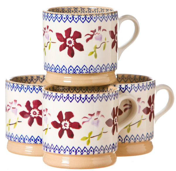 4 Small Mugs Clematis