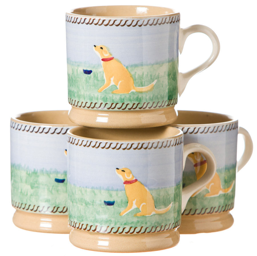 4 Small Mugs Dog spongeware by Nicholas Mosse Pottery - Ireland - Handmade Irish Craft