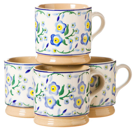 4 Small Mugs Forget Me Not