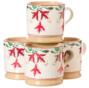 4 Small Mugs Fuchsia spongeware pottery by Nicholas Mosse, Ireland - Handmade Irish Craft - nicholasmosse.com