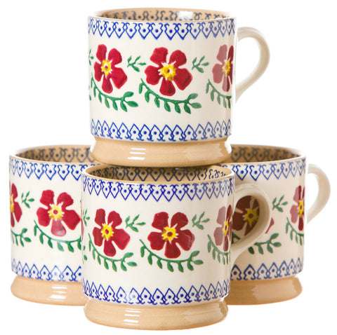 4 Small Mugs Old Rose