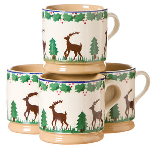 4 Small Mugs Reindeer