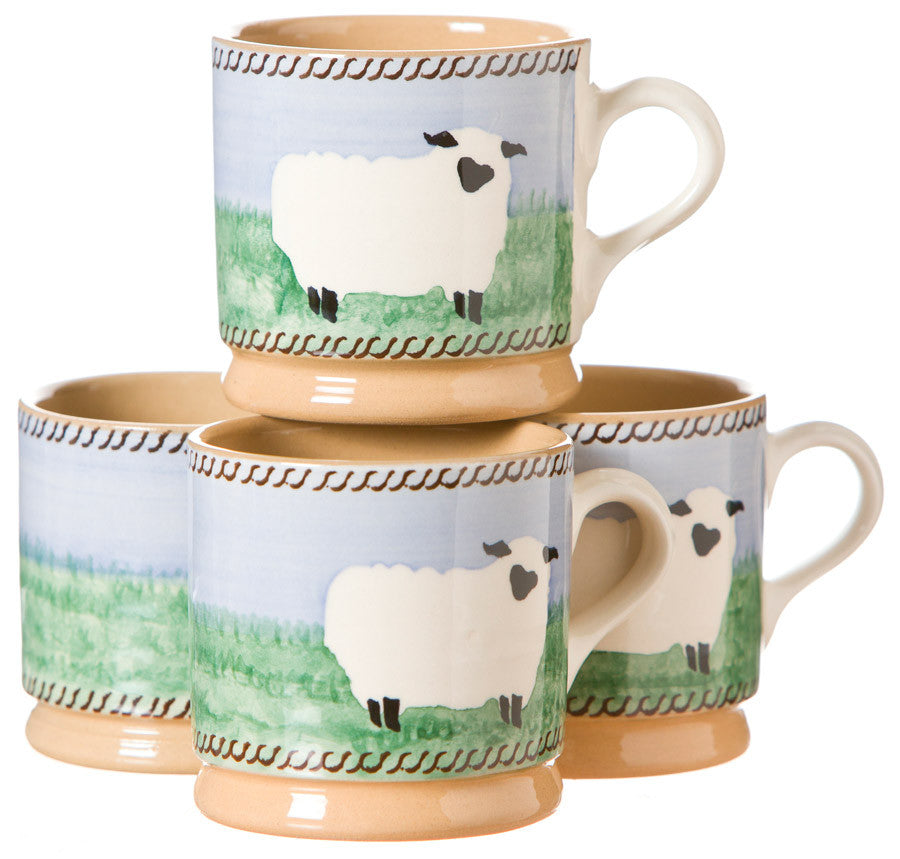 4 Small Mugs Sheep spongeware by Nicholas Mosse Pottery - Ireland - Handmade Irish Craft