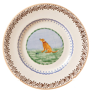 Side plate Dog spongeware pottery by Nicholas Mosse Pottery - Ireland - Handmade Irish Craft.