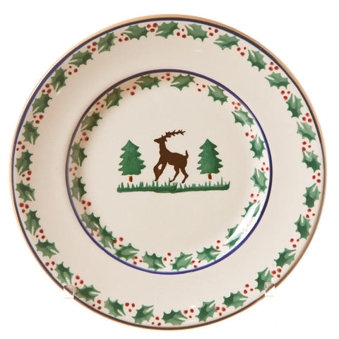 Side plate Reindeer spongeware pottery by Nicholas Mosse Pottery - Ireland - Handmade Irish Craft.