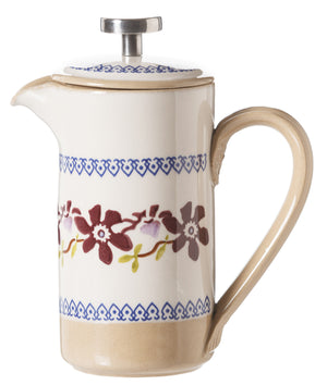 Small Cafetiere Coffee Pot Clematis spongeware by Nicholas Mosse Pottery - Ireland - Handmade Irish Craft