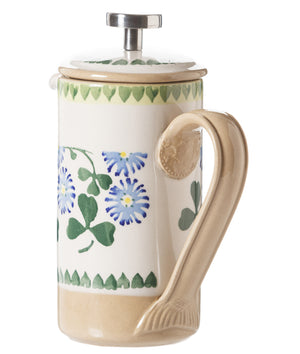 Small Cafetiere Coffee Pot Clover 2 spongeware by Nicholas Mosse Pottery - Ireland - Handmade Irish Craft