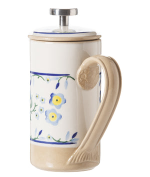 Small Cafetiere Coffee Pot Forget Me Not 2 spongeware by Nicholas Mosse Pottery - Ireland - Handmade Irish Craft