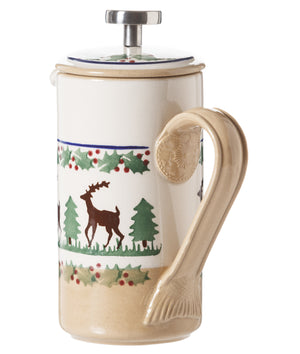 Small Cafetiere Coffee Pot Reindeer 2 spongeware by Nicholas Mosse Pottery - Ireland - Handmade Irish Craft