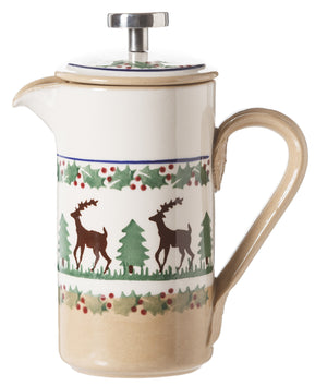 Small Cafetiere Coffee Pot Reindeer spongeware by Nicholas Mosse Pottery - Ireland - Handmade Irish Craft