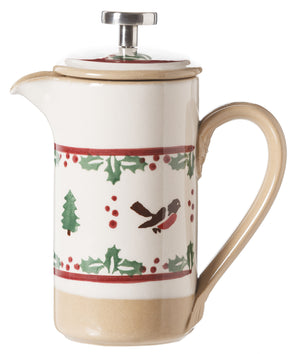 Small Cafetiere Coffee Pot Winter Robin spongeware by Nicholas Mosse Pottery - Ireland - Handmade Irish Craft