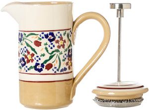 Small Cafetiere Wild Flower Meadow with Plunger and lid to side Nicholas Mosse Pottery handcrafted spongeware Ireland