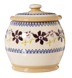 Small  Round Lidded Jar Clematis Nicholas Mosse Pottery handcrafted sponge ware Ireland