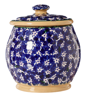 Small Round Lidded Jar Dark Blue Lawn