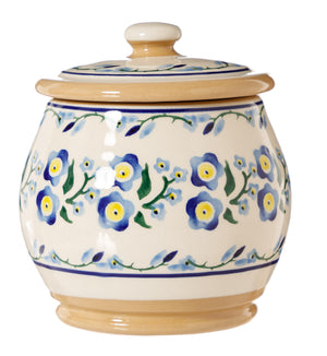 Small Round Lidded Jar Forget Me Not Nicholas Mosse Pottery handcrafted sponge ware Ireland