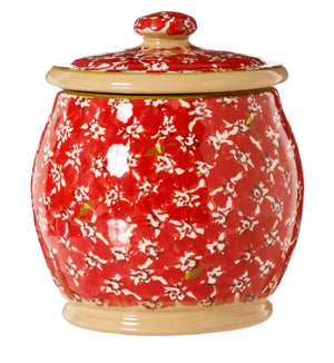 Small Round Lidded Jar Red Lawn Nicholas Mosse Pottery handcrafted sponge ware Ireland