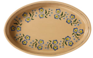 Small Oval Oven Forget Me Not inside view Nicholas Mosse Pottery handcrafted spongeware