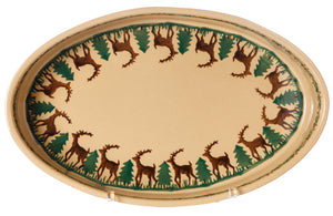 Small Oval Oven Reindeer inside view Nicholas Mosse Pottery handcrafted spongeware