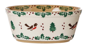 Small Oval Pie Dish Winter Robin