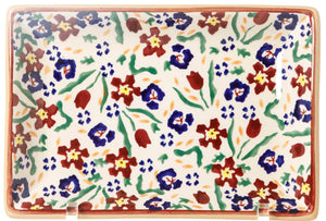 Small Rectangle Plate Wild Flower Meadow Nicholas Mosse Pottery handcrafted spongeware Ireland