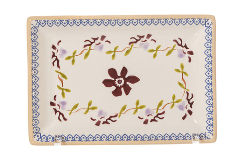 Small Rectangle Plate Clematis spongeware by Nicholas Mosse Pottery - Ireland - Handmade Irish Craft.
