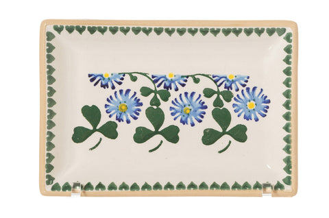 Small Rectangle Plate Clover spongeware by Nicholas Mosse Pottery - Ireland - Handmade Irish Craft.