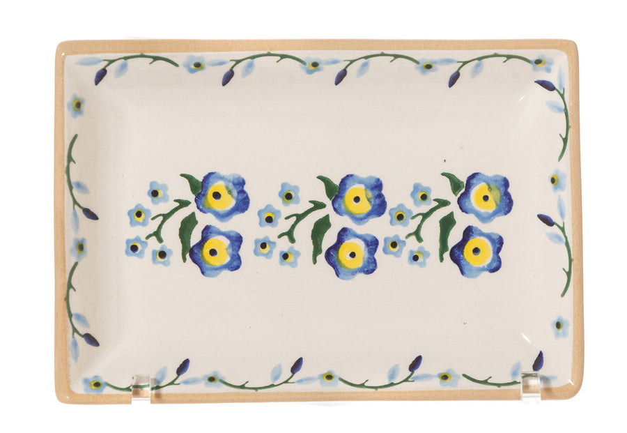 Small Rectangle Plate Forget Me Not spongeware by Nicholas Mosse Pottery - Ireland - Handmade Irish Craft.
