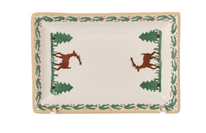 Small Rectangle Plate Reindeer spongeware by Nicholas Mosse Pottery - Ireland - Handmade Irish Craft.