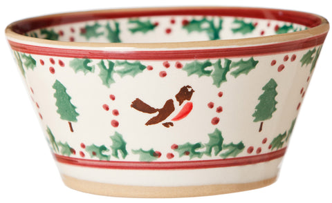 SMALL ANGLED BOWL WINTER ROBIN