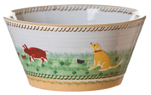 Small angled bowl Assorted Animals spongeware pottery by Nicholas Mosse Pottery - Ireland - Handmade Irish Craft