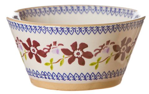 Small angled bowl Clematis spongeware pottery by Nicholas Mosse Pottery - Ireland - Handmade Irish Craft.