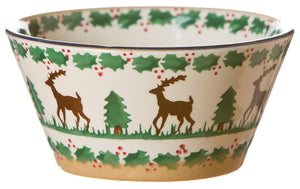 Small angled bowl Reindeer spongeware pottery by Nicholas Mosse Pottery - Ireland- Handmade Irish Craft