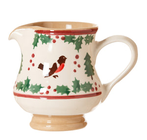 Small jug Winter Robin spongeware pottery by Nihcolas Mosse