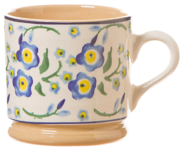 Small mug Forget Me Not spongeware pottery by Nicholas Mosse Pottery - Ireland - Handmade Irish Craft.